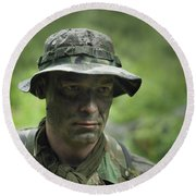 U.s. Special Forces Soldier Round Beach Towel