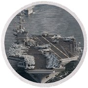 Uss Carl Vinson And Uss Bunker Hill Round Beach Towel