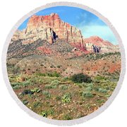 Utah Cactus Field Round Beach Towel