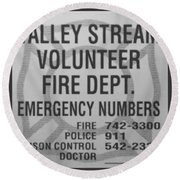 Valley Stream Fire Department In Black And White Round Beach Towel