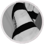 Val's Feet In Black And White Round Beach Towel