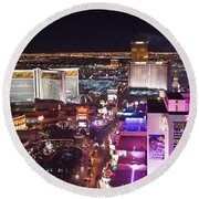 Vegas Strip At Night Round Beach Towel
