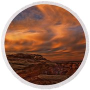 Vibrant Sunset Over The Rim Of Canyon Round Beach Towel