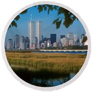 View From Liberty State Park Round Beach Towel