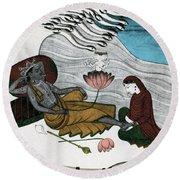 Vishnu And Lakshmi Round Beach Towel