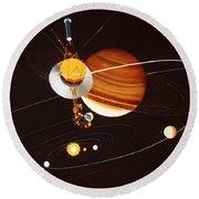 Voyager Saturn Flyby Artwork Round Beach Towel