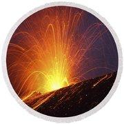 Vulcanian Eruption Of Anak Krakatau Round Beach Towel