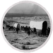Wagon Train Round Beach Towel