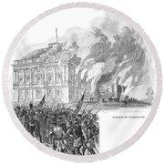 Washington Burning, 1814 Round Beach Towel