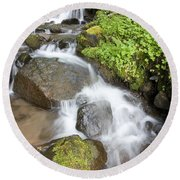 Water Cascading Over Rocks, Mount Hood Round Beach Towel