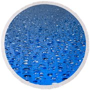 Water Drops On A Shiny Surface Round Beach Towel