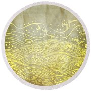 Water Pattern On Old Paper Round Beach Towel