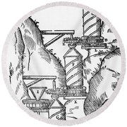 Watermill, Reversed Archimedean Screw Round Beach Towel by Science Source
