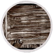 Weathered Wall In Bodie Ghost Town Round Beach Towel