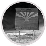 Welcome Sign Round Beach Towel by David Lee Thompson