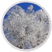 White Frost Tree  Round Beach Towel