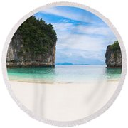 White Sandy Beach In Thailand Round Beach Towel