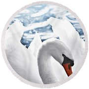 White Swan On Water Round Beach Towel