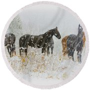 Winter Horses Round Beach Towel