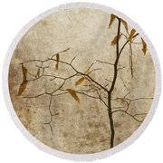 Winter Leaves Round Beach Towel