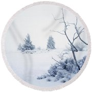 Winter On The Moor Round Beach Towel