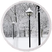 Winter Park Round Beach Towel by Elena Elisseeva