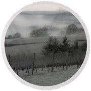 Winter Vineyard Round Beach Towel by Jean Noren
