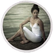 Woman At A Lake Round Beach Towel