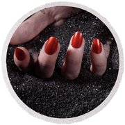 Woman Hand With Red Nails On Black Sand Round Beach Towel