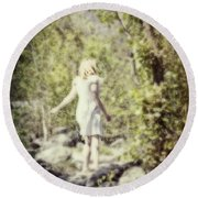 Woman In A Forest Round Beach Towel