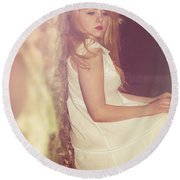 Woman In Alley Round Beach Towel