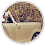Woman In Convertible Round Beach Towel by Joana Kruse