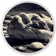 Woman In River Round Beach Towel by Joana Kruse