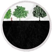 Woman In The Park  Round Beach Towel