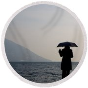 Woman With An Umbrella Round Beach Towel