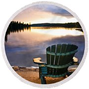 Wooden Chair At Sunset On Beach Round Beach Towel by Elena Elisseeva