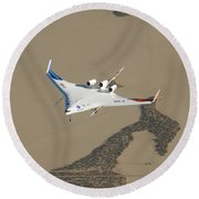 X-48b Blended Wing Body Round Beach Towel
