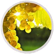 Yellow Grapes Round Beach Towel