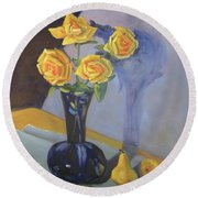 Yellow Roses And Pears Round Beach Towel