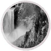 Yellowstone Waterfalls In Black And White Round Beach Towel