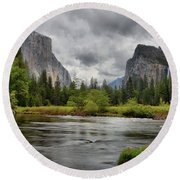 Yosemite's Valley View  Round Beach Towel