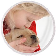 Young Girl With Yellow Labrador Round Beach Towel