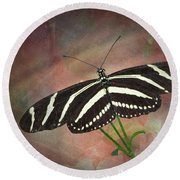 Zebra Longwing  Butterfly-2 Round Beach Towel