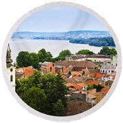 Zemun Rooftops In Belgrade Round Beach Towel