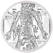 Zodiac Man, Medical Astrology Round Beach Towel