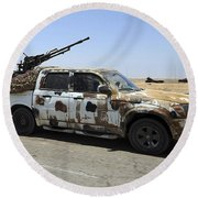 A Free Libyan Army Pickup Truck Round Beach Towel