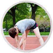 Stretching Exercises Round Beach Towel