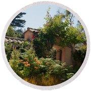 Gardens In Carmel Monastery Round Beach Towel