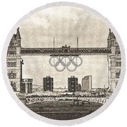 Tower Bridge Art Round Beach Towel