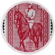 old French postage stamp Round Beach Towel